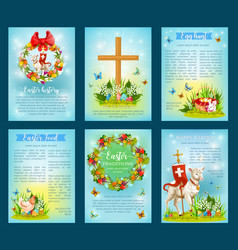 Easter holiday traditions poster template set vector