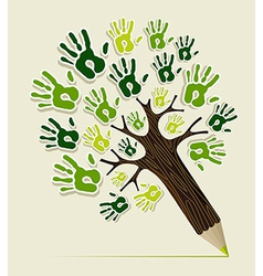 Eco friendly pencil tree hands vector