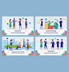 Education abroad exchange program banners vector