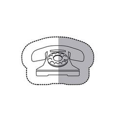 Figure sticker color telephone icon vector