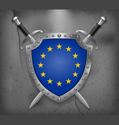 flag of european union the shield with national vector image