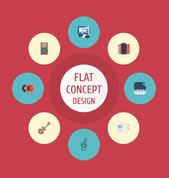 flat icons acoustic harmonica tone symbol and vector image