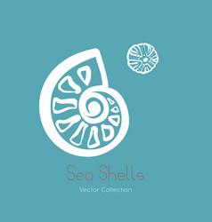 Fossil ammonite nautilus seashell logo set vector