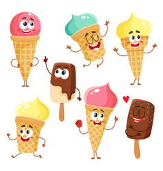 Funny ice cream characters cones popsicles with vector
