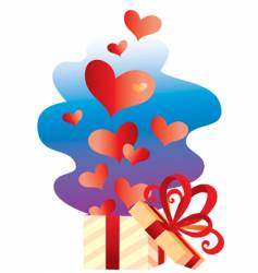 gift with hearts vector image