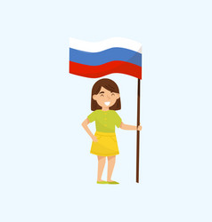 girl holding national flag of russia design vector image