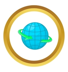 Globe and round the world arrow symbol icon vector