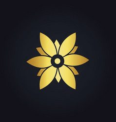 Gold beauty flower abstract geometry logo vector