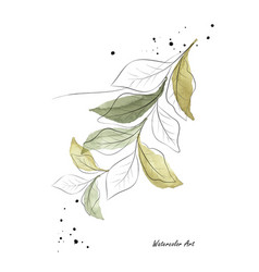 Green leaves and branches art watercolor vector