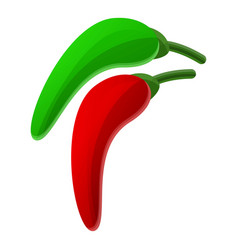 green red chilli icon cartoon style vector image