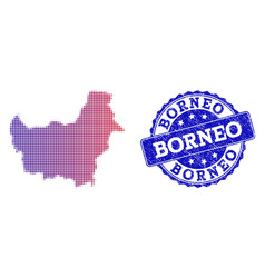 Halftone gradient map of borneo island and vector