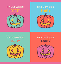 halloween party cards with pumpkins on color vector image