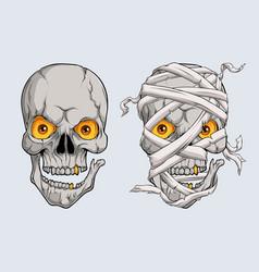 Halloween realistic scary mummy skulls face vector