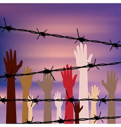 Hands Behind a Barbed Wire vector