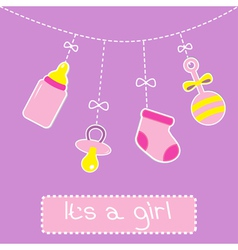 Hanging bottle pacifier rattle and sock Baby girl vector image