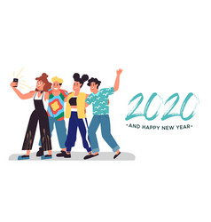 happy new year 2020 social friends selfie card vector image