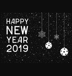 happy new year with balls and snowflakes vector image