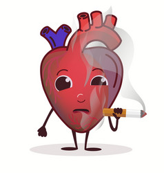 Heart character with cigarette stop smoking vector