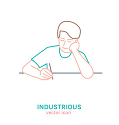 Industrious teenager icon vector
