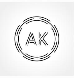 Initial ak logo creative typography template vector