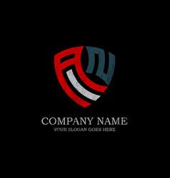 initial an letter logo inspiration vintage shield vector image