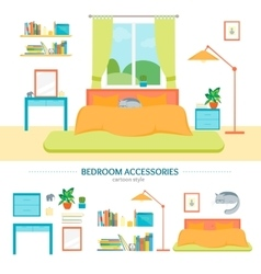 Interior classic bedroom with furniture and vector