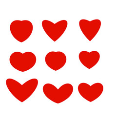 isolated abstract red color hearts different vector image