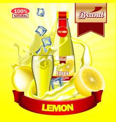 Juice lemon ads with logo and label realistic vector