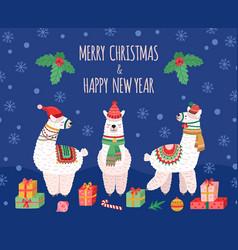 llama christmas background doodles llamas wild vector image
