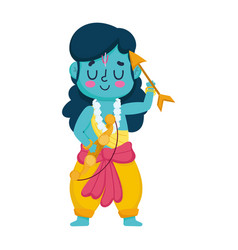 lord rama cartoon with arrow and bow isolated icon vector image