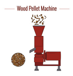 Machine for production wood pellets vector