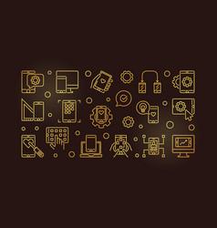 Mobile application development golden line vector