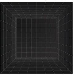 Perspective grid room wireframe abstract cube vector