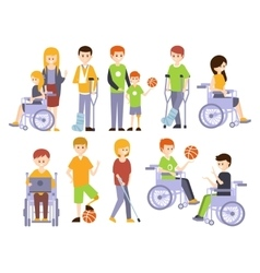 Physically Handicapped People Living Full Happy vector