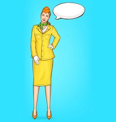 Pop art stewardess flight attendant air hostess vector