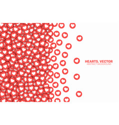 Scattered hearts red flat icons border isolated vector