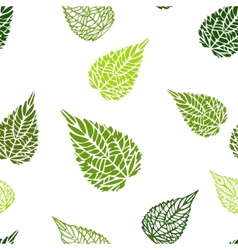 Seamless green leaves background vector image