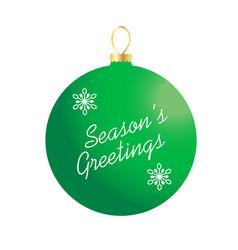 Seasons greetings on green ornament vector