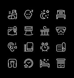set line icons of sleep vector image