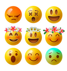 Set of smiley face emoji or yellow emoticons vector