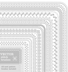 Set of white seamless stitch brushes vector