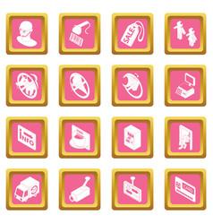 Shop navigation foods icons set pink square vector