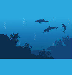 Silhouette of dolphin and reef ocean landscape vector