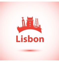 Silhouette of Lisbon Portugal City vector