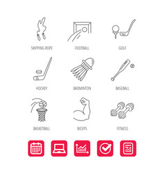 Skipping rope football and golf icons vector