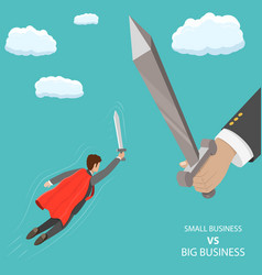 Small business vs big flat isometric concept vector