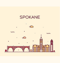 spokane skyline washington usa linear style vector image