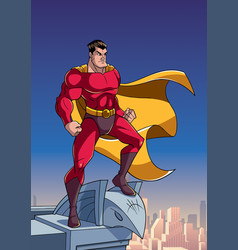 superhero watching city from roof vector image