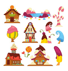 sweet houses cream and chocolate buildings flowers vector image