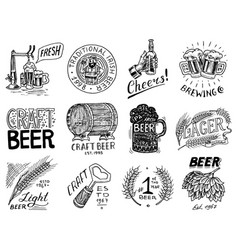 vintage beer badge set alcoholic label with vector image